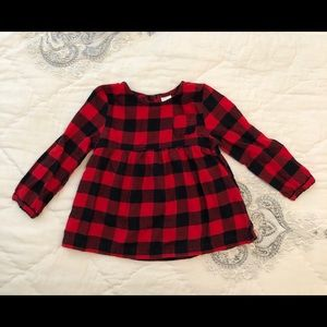 Red + White Buffalo Plaid babydoll-style blouse